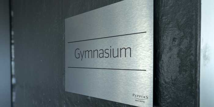Silo Hotel Gymnasium Brushed Aluminium Sign