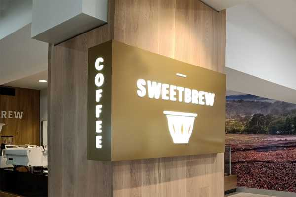 Sweetbrew - Slimline Lightbox, fabricated aluminium composite with push through letters with internal LEDs