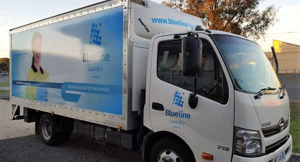 Blueline Laundry Truck Graphics Wrap Sign