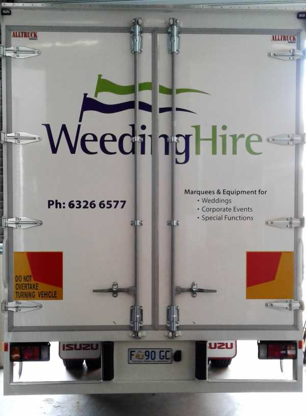 Weeding Hire Truck Signs
