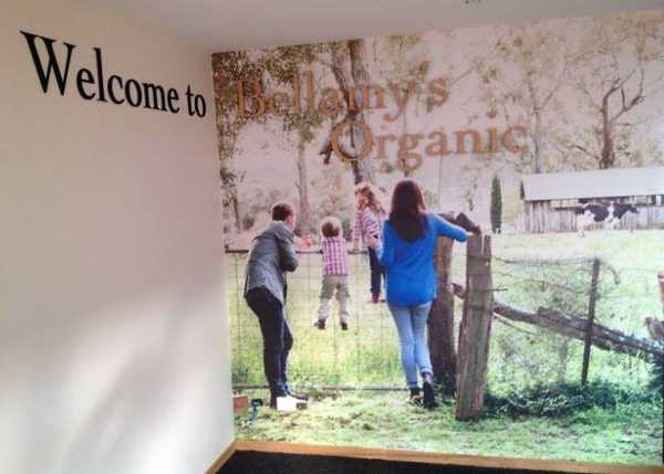 Bellamys Organic Wall Sign Wall Graphics Wall Paper Architectual Signage